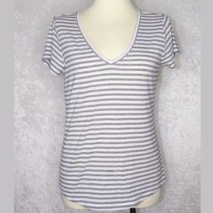 Paige Stripe V Neck T Shirt Large White Gray